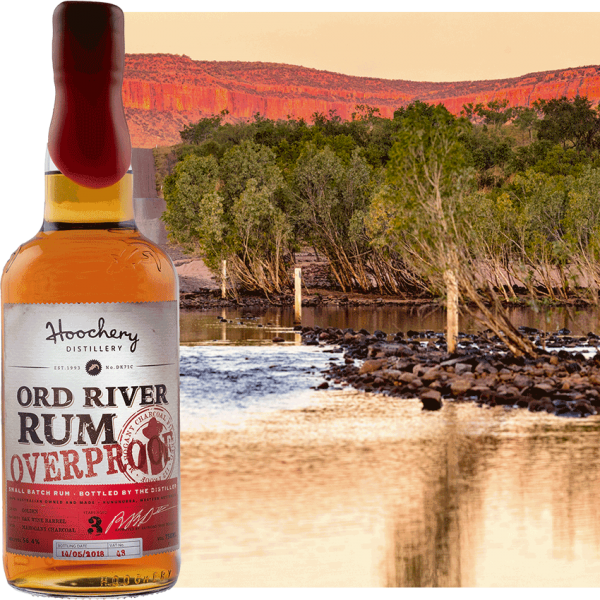 rum bottle with river background