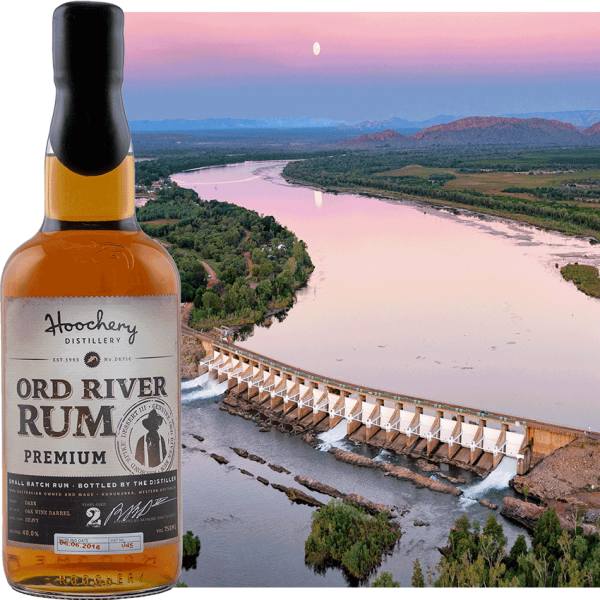 rum bottle with ord river background