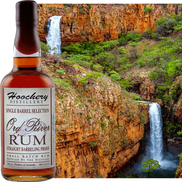 Rum bottle with waterfall background