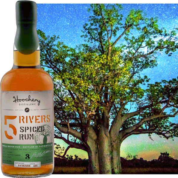 rum bottle with tree background
